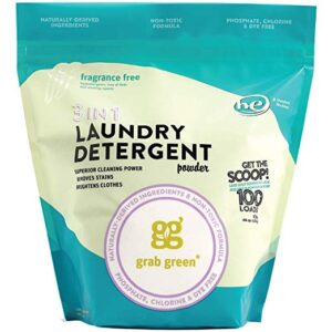 Grab Green Natural 3 in 1 Laundry Detergent Pods, Free & Clear/Unscented, 24 Loads, Fragrance Free