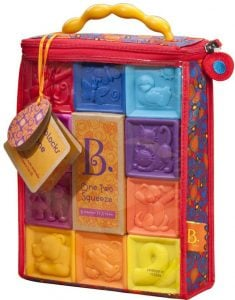 B. toys – One Two Squeeze Baby Blocks – Educational Baby with Numbers, Shapes, Animals and Texture