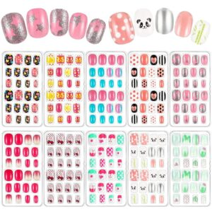 240 Pieces Children False Nails Kids Girls Press on Short Artificial Fake Nails