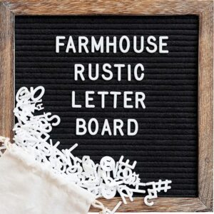 Felt Letter Board with 10x10 Inch Rustic Wood Frame